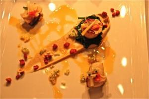 Vieiras, Puré de Coliflor, Apio, Chorizo, Manzana y Salsa de Trufa y Confit de Limón. Blog Esteban Capdevila