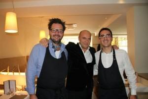 El Chef Rikard Hult con Esteban Capdevila y el sumiller Guillaume Roubet. Blog Esteban Capdevila